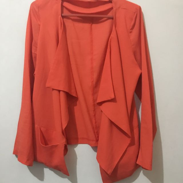 Orange Satin Cardigan