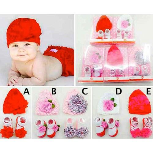 perlengkapan baby Set Topi Kaos Kaki bunga sc-15086