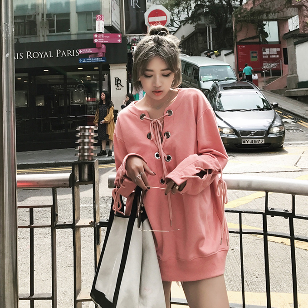 Pink LaceUp Oversized Sweater