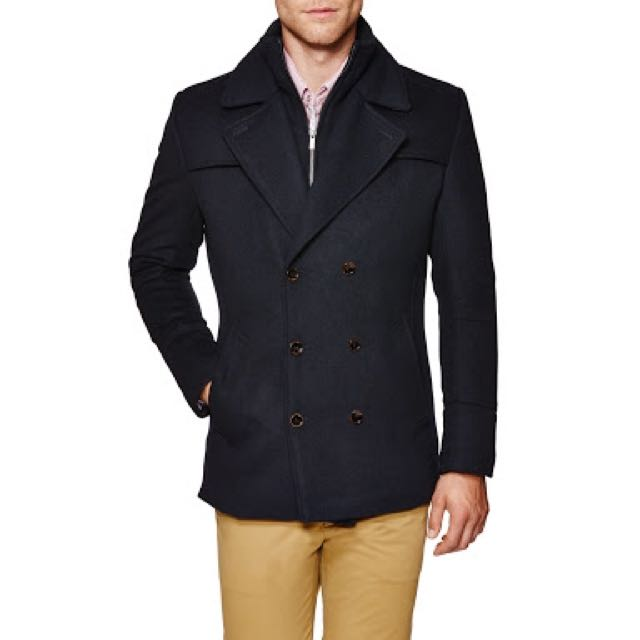 Politix Lionel Premium classic double breasted Dark Navy Blue Pea coat soft Navy Wool.