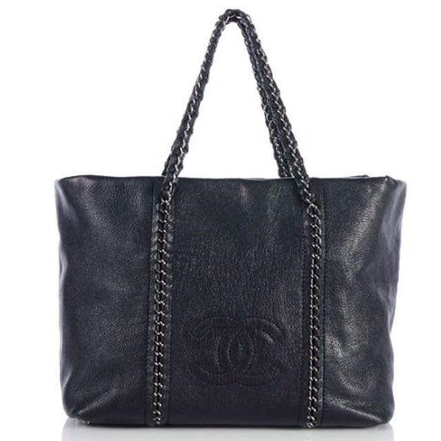 cc8eb3a4fad7 Authentic Chanel Luxe Ligne Zip Top Caviar Leather Tote Bag With ...