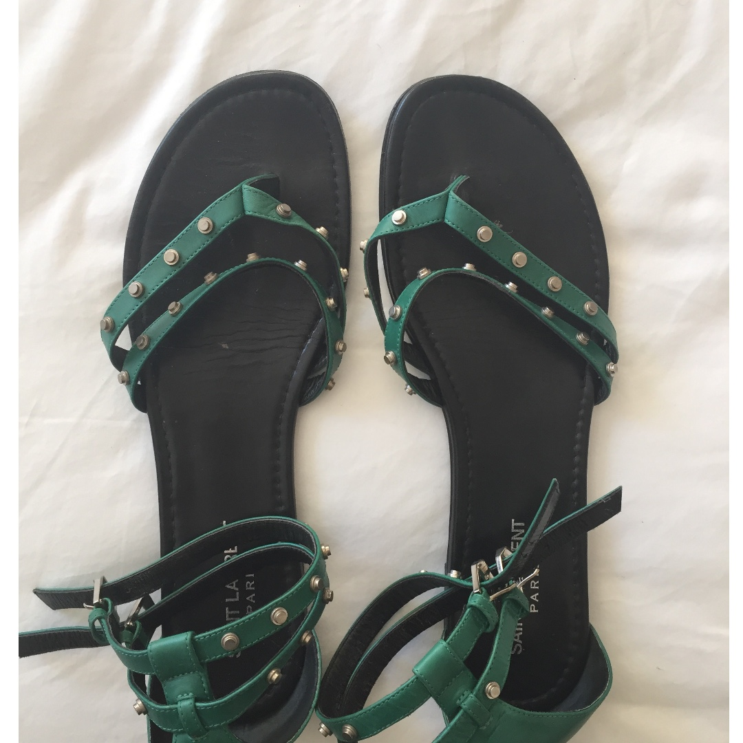 *AUTHENTIC Saint Laurent Green Gladiator Sandal