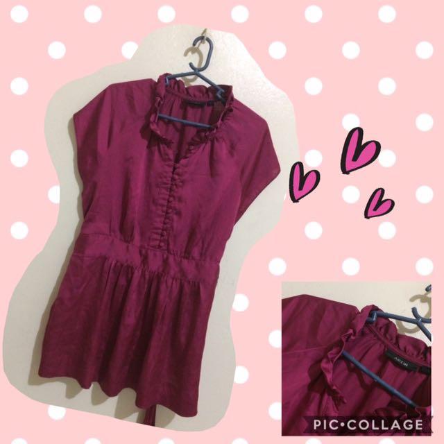 satin purple blouse