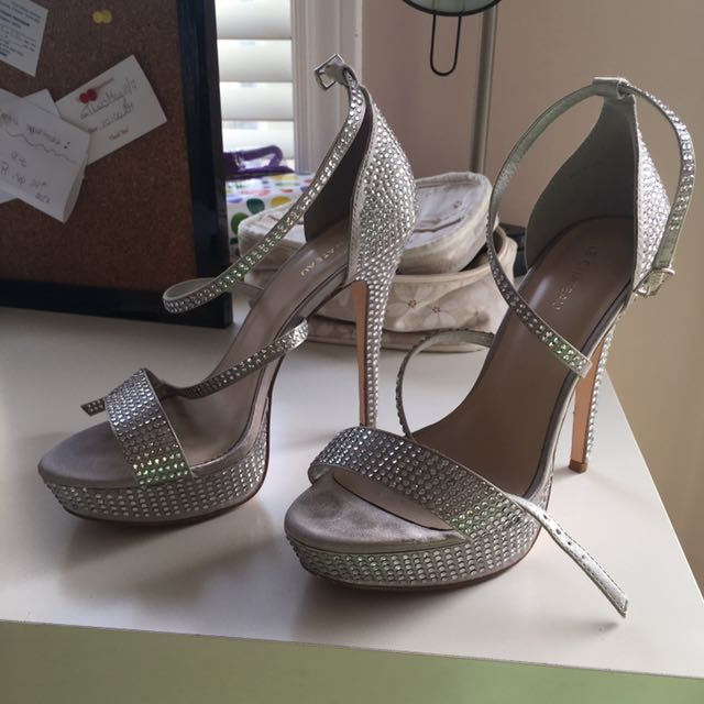 Silver Open Toe Platforms