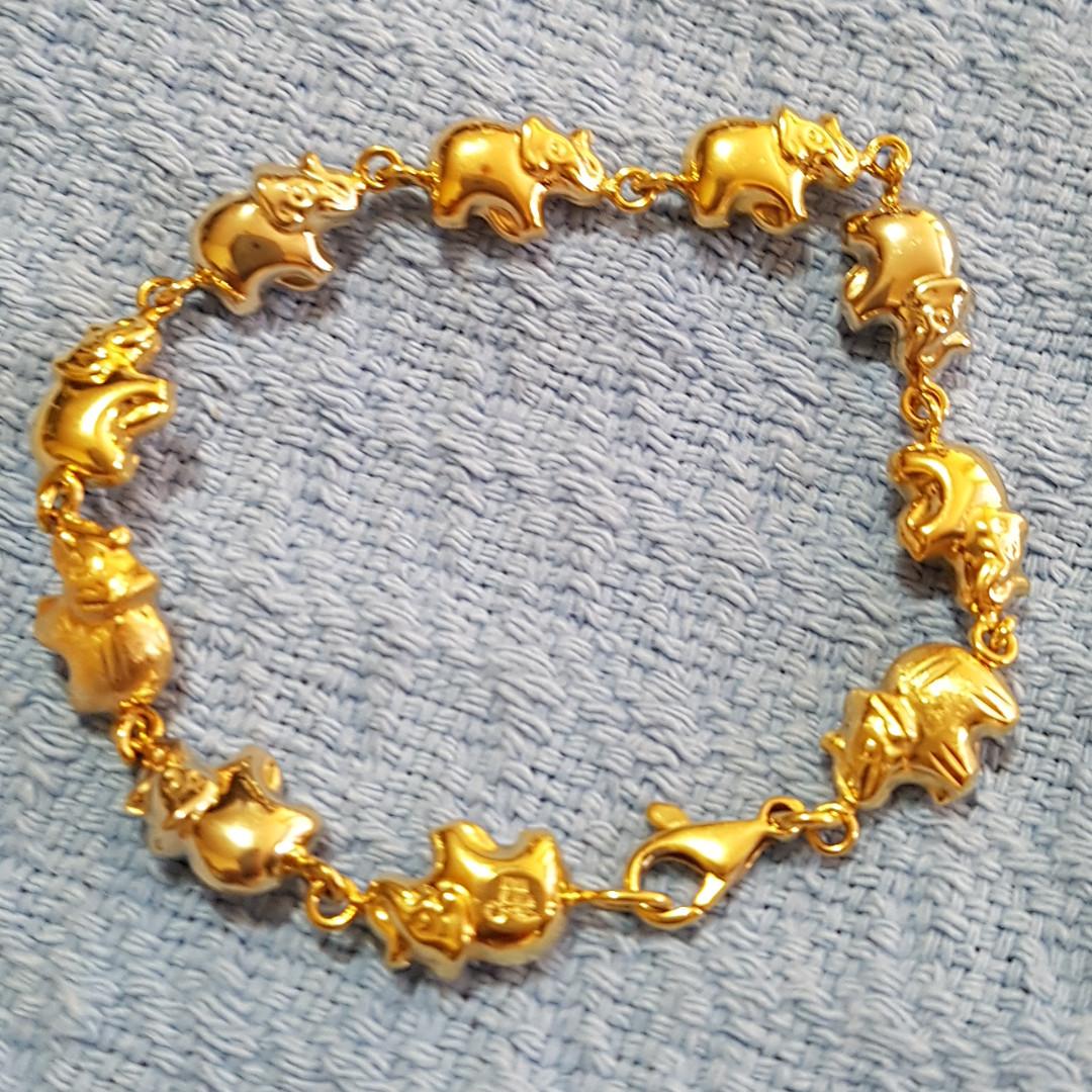 18K Italy Yellow Gold Elephant Bracelet 6.5inches Length
