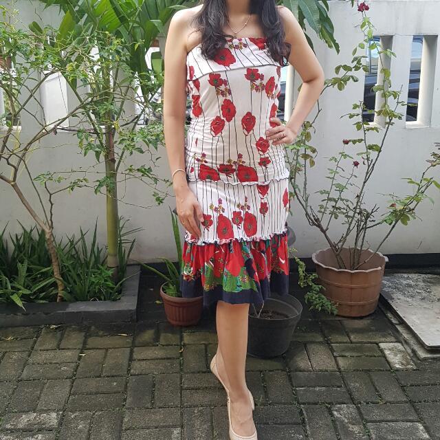 Tube Dress Flower Printed
