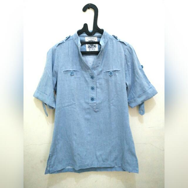 [REPRICE] Woman Top - Light Blue Shirt
