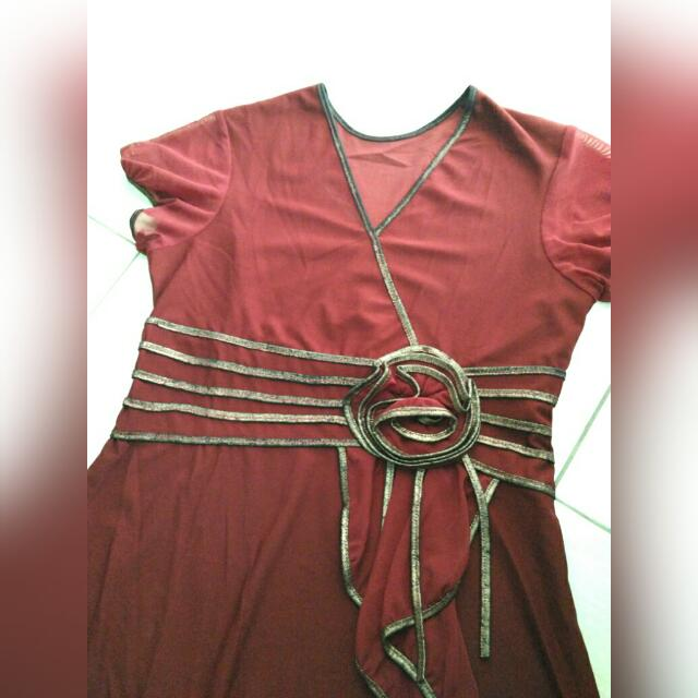 [REPRICE] Women Dress Maroon - Dress Wanita