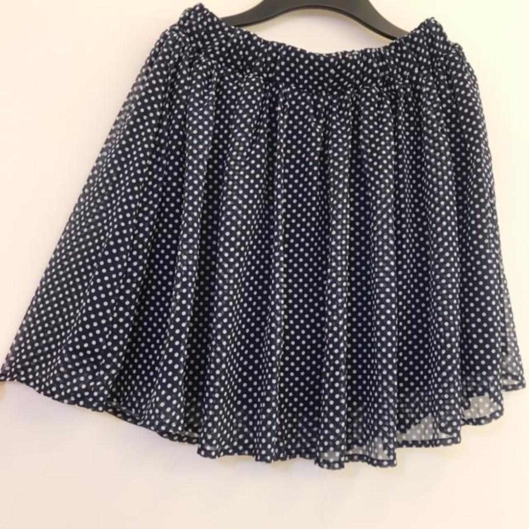 深藍x白點點 雪紡 短裙