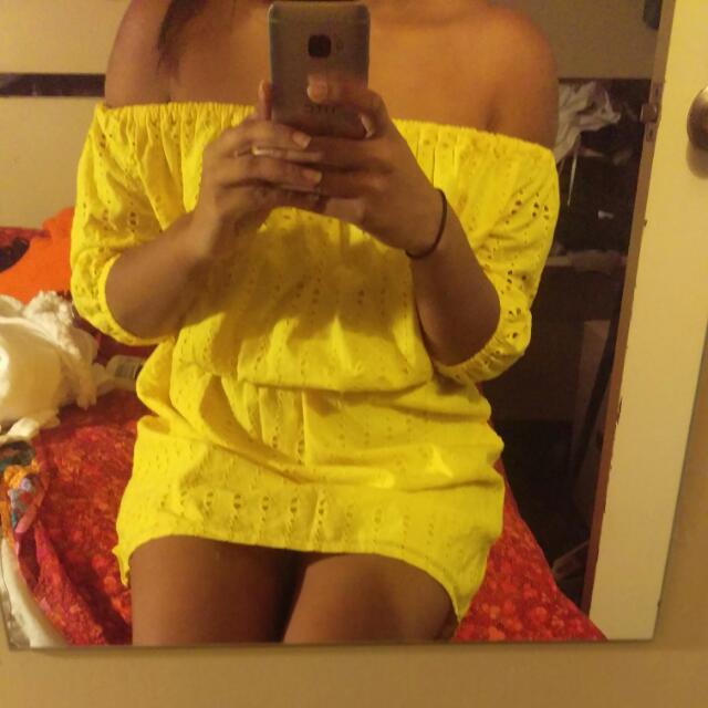 Zara Off The Shoulder Yellow Dress