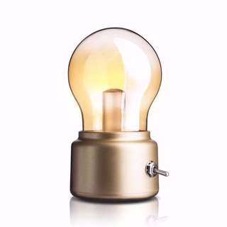 [PO] Retro 10W LED USB Rechargeable Globe Light Bulb Warm White Table Lamp (Gold Base) @ DC5V