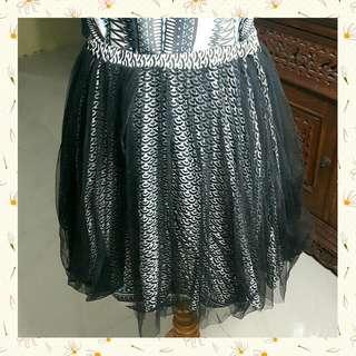 ♟ Brand: PINK - Black&White Pattern Cotton Over Tulle Skirt - Rok Motif Hitam Putih Dengan Luaran Tile - Barter Yuk!♟