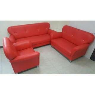 3件組 皮革沙發 紅色沙發
