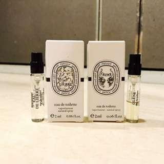 Diptyque 奧利恩 利埃爾 試管香水(兩瓶合售)