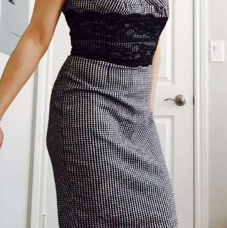 GUESS Checkered Dress With Built In Corset Size 2