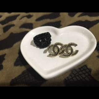 Chanel Vintage Gold And Black Earrings