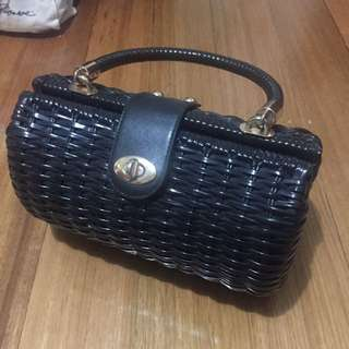Pinup couture Black Wicker Bag