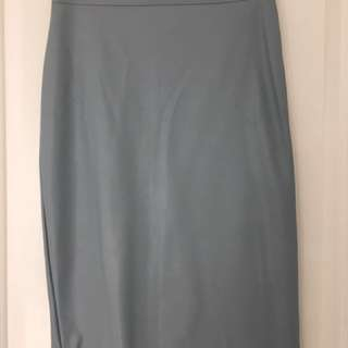 Powder blue Faux Leather Pencil Skirt