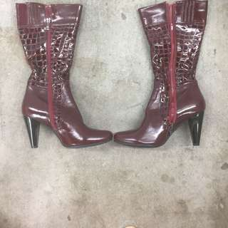 Red Patern Leather 3/4 Boots
