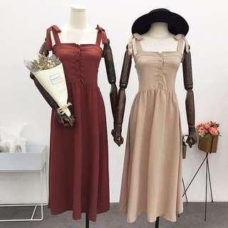 預購綁帶純色無袖連身裙