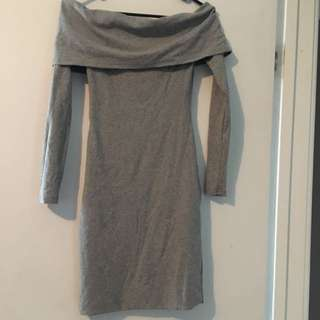 Ava Off Shoulder Grey Dress