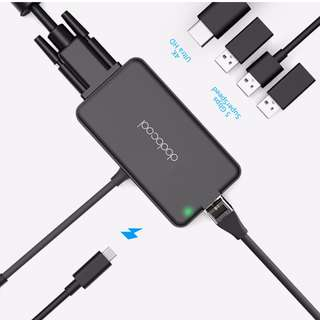 dodocool 7-in-1 Multifunction USB-C Hub with Type-C Power Delivery 4K Video HD/VGA Output Port Gigabit Ethernet for Macbook 2016/2017