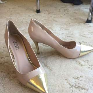 Gold Beige Pointed Heels #EOFYSALE