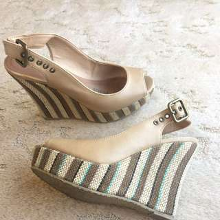 Beige Weaved Wedges #EOFYSALE