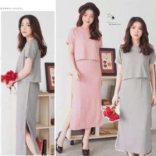 Dust Pink Set Slit Dress