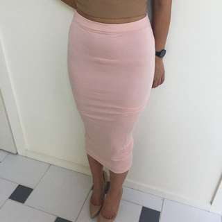 Missguided Baby Pink Midi Skirt Jersey AU 6