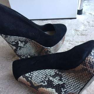 Black  Snakeskin Wedge #EOFYSALE