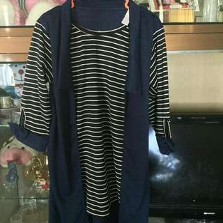 OUTER / BLOUSE STRIPE NAVY