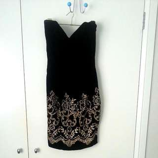 Black Velvet Gold Glitter Dress