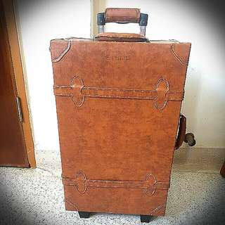 """BRAND NEW 22 inch/22"""" VINTAGE RETRO ANTIQUE BROWN PU LEATHER SUITCASE LUGGAGE TRAVEL BAG WITH TAGS"""