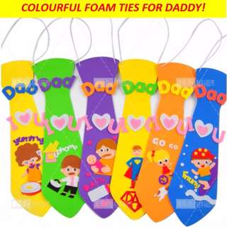Colourful foam ties DIY for Daddy / perfect kids' gift for Father's day