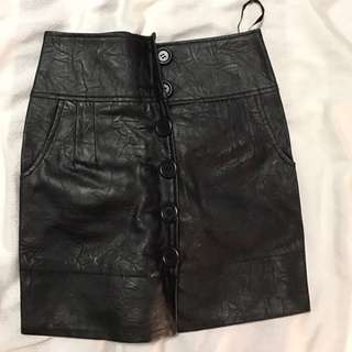 Fake Black Leather Skirt