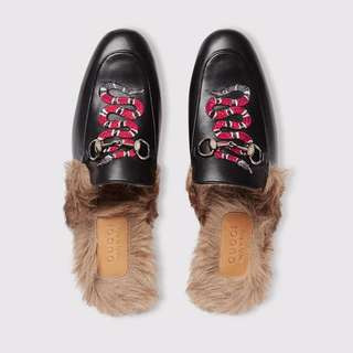 Gucci snake fur loafer