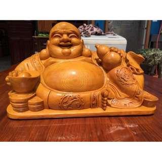 招財 黃檜彌勒佛 財神彌勒佛  實木雕件 擺件 擺飾 和氣聚財 店面聚財擋煞 閃花 帶眼 福氣財神彌勒佛 值得收藏