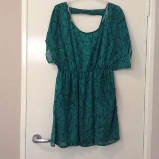 Green Leaf Print Dress