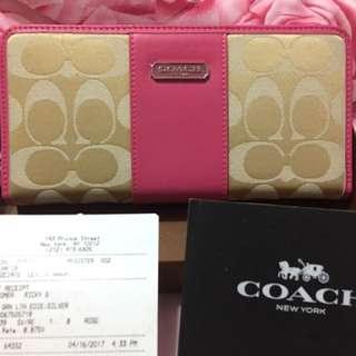 美國🇺🇸Coach長夾43439 桃紅色 女士印花長款皮夾 全新品