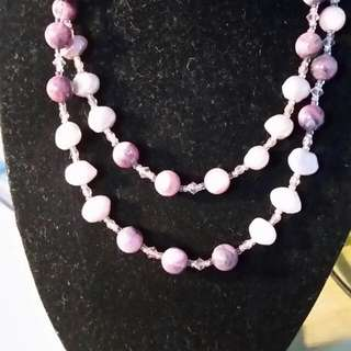 Freshwater pearl and Amethyst bead Necklace.
