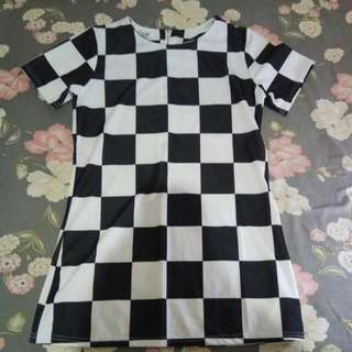 mini dress kotak kotak