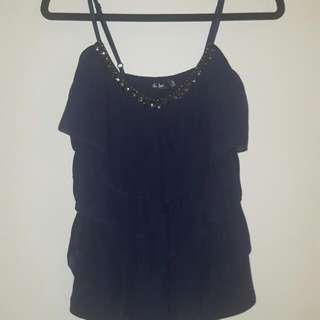 Navy Blue Ruffled Tank Blouse