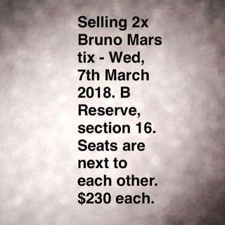 Selling 2 Bruno Mars Melbourne Tix