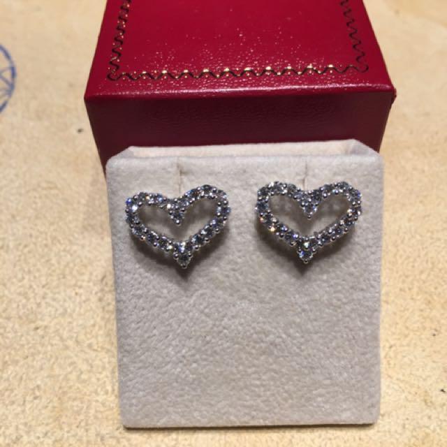 T牌 18K 心型鑽石耳環