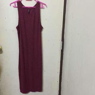 Cotton On Long Dress (Dark Red)