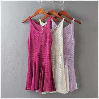 夏季薄款鏤空針織拼接雪紡背心