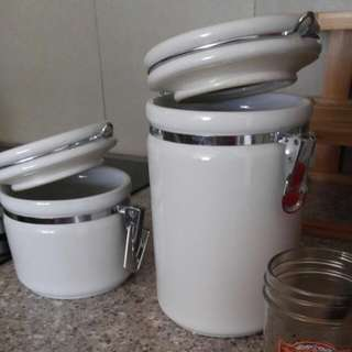 2 White Ceramic Canisters