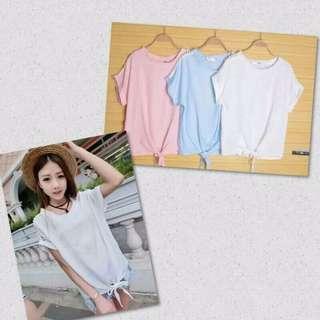 韓系簡單純色綁帶下擺短款短袖T
