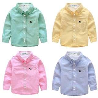 秋裝版男童女童 兒童棉質素色襯衫 素色上衣 藍色 粉色 黃色 綠色襯衫[兩件400元]